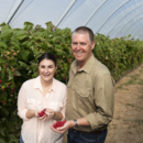 Sales and marketing manage Rebecca Scurr and managing director Gavin Scurr in the specialty raspberry crop at Wamuran, Queensland