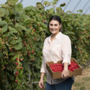 Sales and marketing manager Rebecca Scurr in the specialty raspberry crop at Wamuran, Queensland