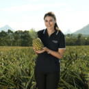 Key account manager Rebecca Scurr holds a pineapple in a pineapple field, Wamuran