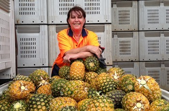 Pinata Farms' pineapple packer Ann Bathis